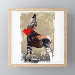 Okapi  with Red Bow Framed Mini Art Print