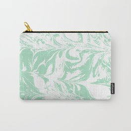 Asa - spilled ink mint marble japanese watercolor marbling marbled water wave ocean sea minimal Carry-All Pouch