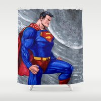 man of steel Shower Curtains featuring Man Of Steel by Morales