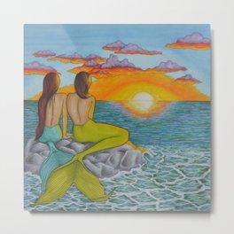 Mermaid Sunset Metal Print