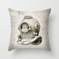 scuba Throw Pillows featuring scuba diving by Luiz Fogaça