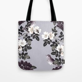 Birds and the Bees Blue Gray Tote Bag