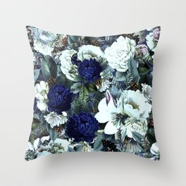 Vintage & Shabby Chic - Blue Winter Roses Throw Pillow