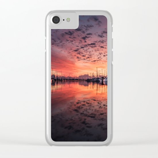 sailboats at sunrise Clear iPhone Case