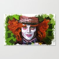 mad hatter Canvas Prints featuring Mad Hatter by grapeloverarts