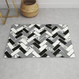 Shuffled Marble Herringbone - Black White Gray Silver Rug