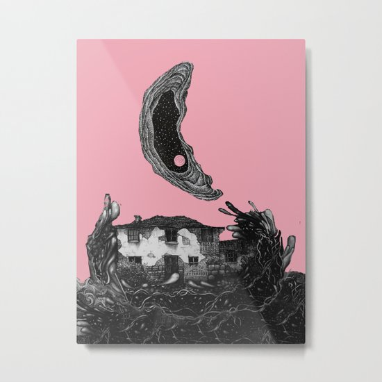 pink moon house Metal Print