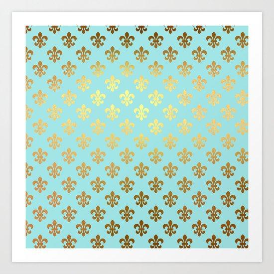 Royal Gold Ornaments On Aqua Turquoise Background Art
