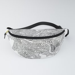 Pittsburgh Neighborhoods - black and white Fanny Pack