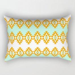 Orange and Turquoise Pattern Rectangular Pillow