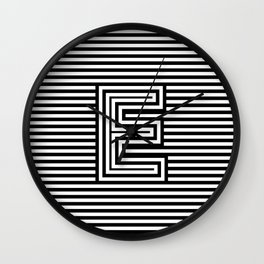 Track - Letter E - Black and White Wall Clock