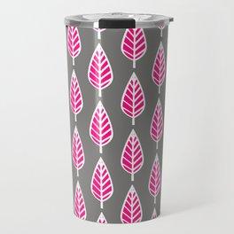 Beech Leaf Pattern, Fuchsia Pink and Silver Gray Travel Mug
