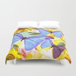 Bright Blue Butterflies Yellow Flowers #decor #society6 #buyart Duvet Cover
