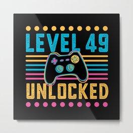 Gaming Level 49 Unlocked 49th Birthday Gamer Gift Metal Print