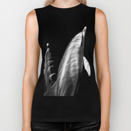 Black and white dolphins Biker Tank