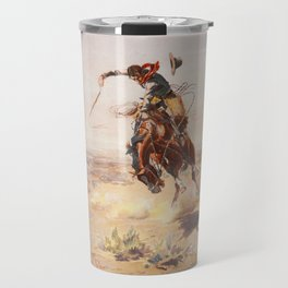 A Bad Hoss by Charles Marion Russell (c 1904) Travel Mug