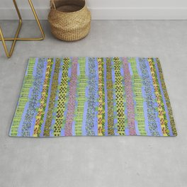 Blue Vertical Stripes and Ornaments  Rug