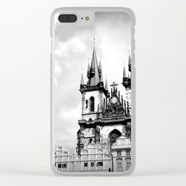 Prague: Old Town Square in Black & White Clear iPhone Case