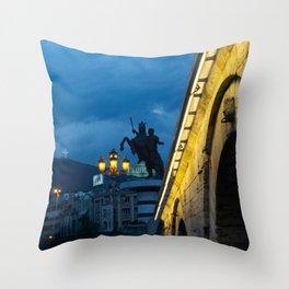 Skopje evening Throw Pillow