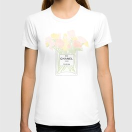 perfume no.5 with pink and yellow flowers T-shirt