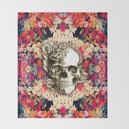 You are not here Day of the Dead Rose Skull. Throw Blanket