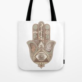 Hamsa Hand Faded Colour Tote Bag