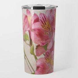 Pink Peruvian Lilies Alstroemeria Travel Mug