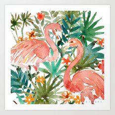 FLAMINGO PARADISE Art Print