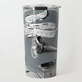 The Cat and the Song Cat (black and white) Travel Mug