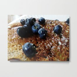 Almond Flour Pancakes w/Blueberries and Agave Metal Print
