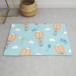 Born to fly bunny pattern Rug