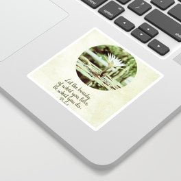 Zen Flower Water Lily With Inspirational Rumi Quote Sticker