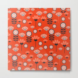 Whimsy wildflowers in red Metal Print