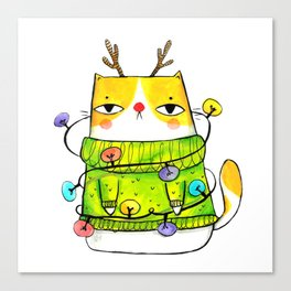 Winter kitty with Christmas lights Canvas Print