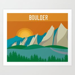 Boulder, Colorado - Skyline Illustration by Loose Petals Art Print