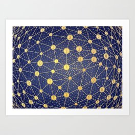 Cryptocurrency mining network Art Print