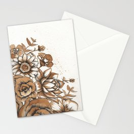 Coffee Art- Flowers Stationery Cards