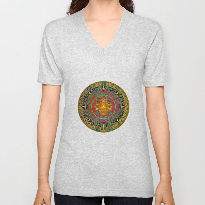 Aztec Sun God Unisex V Neck By Klaraacel Society6