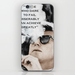 John F Kennedy Cigar and Sunglasses 3 And Quote iPhone Skin