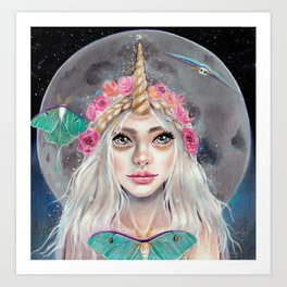 Nymeria and the Luna Moths by Kim Turner Art Art Print