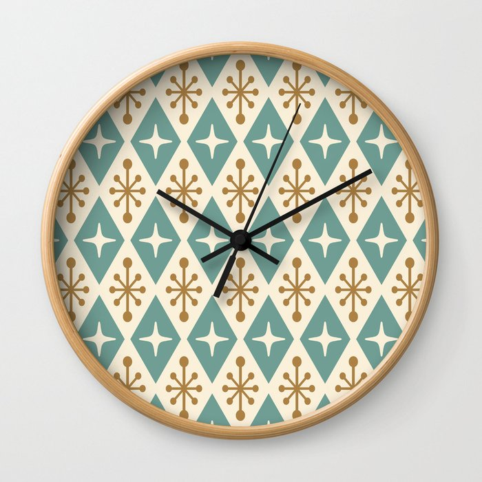 Mid Century Modern Atomic Triangle Pattern 102 Wall Clock