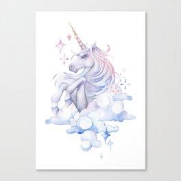 Watercolor unicorn in the sky Canvas Print