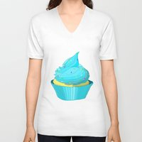 cupcake V-neck T-shirts featuring Cupcake by tiffato3