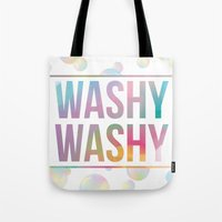 bathroom Tote Bags featuring BATHROOM SERIES - Washy Washy!  by Noonday Design