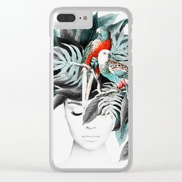 Woman face with tropical plants and parrot, Girl, Modern art print Clear iPhone Case