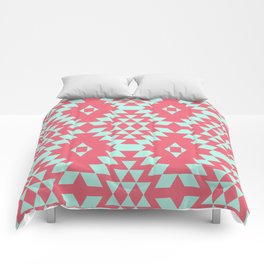 aztec Inspired Pattern Teal & Pink Comforters