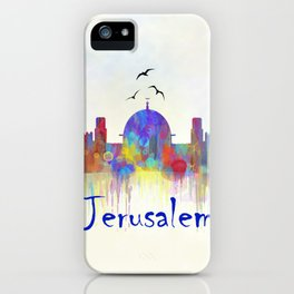 Watercolor Jerusalem City Skyline iPhone Case