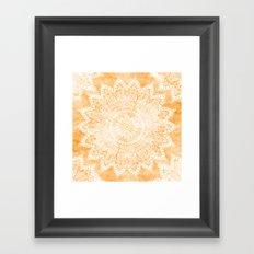 TANGERINE BOHO FLOWER MANDALA Framed Art Print