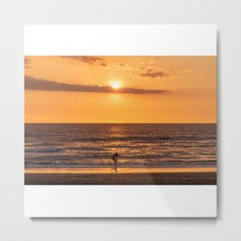 Surfer at Sunset in a Beach in California Metal Print
