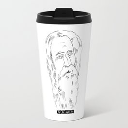 Rabindranath Tagore Charcoal Drawing Travel Mug